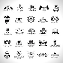 Royal Logo Set - Isolated On White Background - Vector Illustration, Graphic Design. For Web,Websites,Print,Presentation Templates,Mobile Applications And Promotional Materials