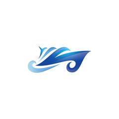 Abstract Modern Ship Sea Ocean Logo Vector Icon