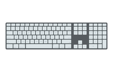 Black laptop, computer keyboard vector template isolated on white background. Illustration of control panel for pc.