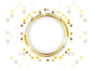 Gold ring with space for text on a mosaic background.