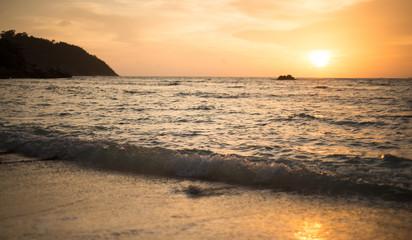 sun set  beach  nature, white sand, seawater Sai Beach Koh LIPE