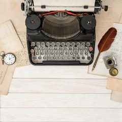 Antique typewriter vintage office tools Flat lay still life