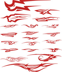 Set of red color tribal tattoo vignettes