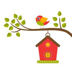 cartoon bird and birdhouse on a branch