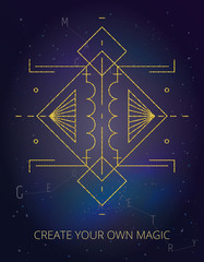 Vector illustration on cosmic background. Gold line. Abstract mystic sign with magic geometric shapes, lines, circles, dots. Use for gold flash tattoo, print, logo design, motivational poster.