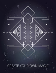White vector linear illustration on cosmic background. Abstract mystic sign with magic geometric shapes, lines, circles, dots. Use for gold flash tattoo, print, logo design, motivational poster. Eps10