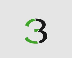 Number three 3 logo symbol design template elements