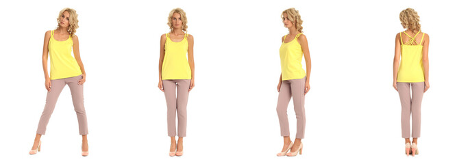 Blond fashion model in pink trousers isolated over white