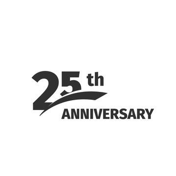Isolated abstract black 25th anniversary logo on white background. 25 number logotype. Twenty-five years jubilee celebration icon. Twenty-fifth birthday emblem. Vector anniversary illustration.