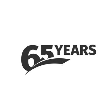 Isolated abstract black 65th anniversary logo on white background. 65 number logotype. Sixty -five years jubilee celebration icon. Sixty-fifth birthday emblem. Vector anniversary illustration.