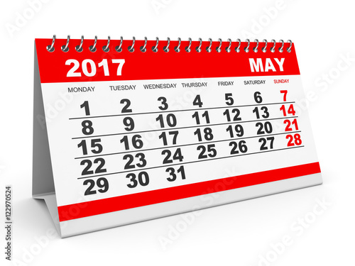"Calendar May 2017 on white background."" Stock photo and royalty-free ..."