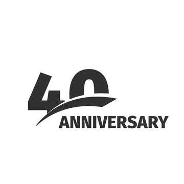 Isolated abstract black 40th anniversary logo on white background. 40 number logotype. Forty years jubilee celebration icon. Fortieth birthday emblem. Vector anniversary illustration.