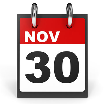November 30. Calendar on white background.