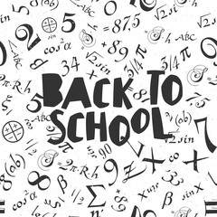 Back to school poster design with seamless numbers pattern backg