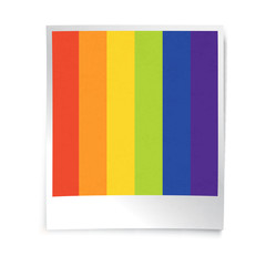 Instant blank photo template with rainbow picture. Empty photo f