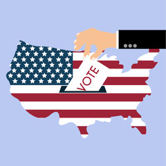 Presidential Election Day Vote. American Flag's Symbolic Element