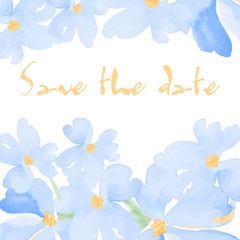 save the date greeting card with hand drawn watercolor flowers