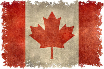 Flag of Canada with distressed grungy textures and edges