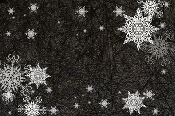 Christmas or new year pattern ,white snowflakes at the black elegance background