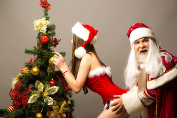 Santa grabs pretty girl