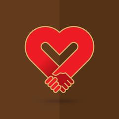 Hands together. Love symbol.