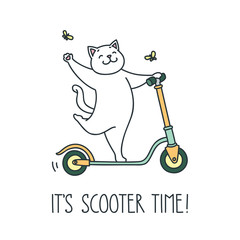 It's scooter time! Doodle vector illustration of funny white cat riding a scooter
