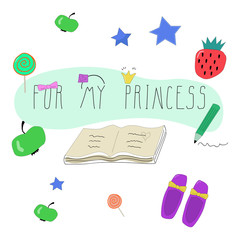 set of different hand drawn objects. phrase for my princess. Unique hand drawn letters