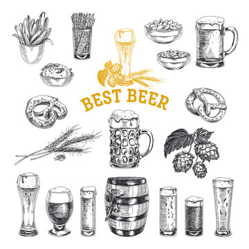 Octoberfest vector set. Beer products. Illustrations in sketch s