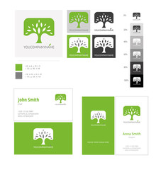 Eco concept logo tree template with color applications for logo and color variations. Vector logo tree corporate business card.
