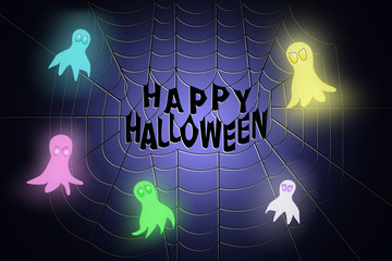 Spider web with Happy Halloween text in the middle, with ghosts flying around it, on blue to dark blue gradient background