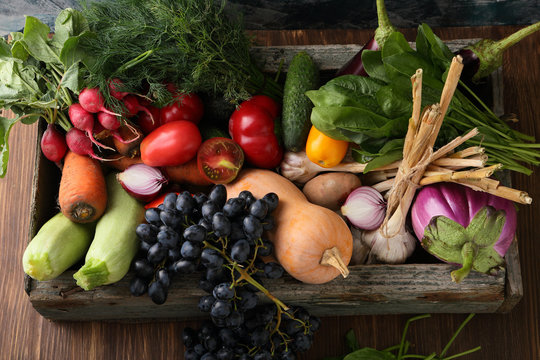 Farm vegetables in wood crate
