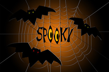 Spider web with bats and text spooky in the center, on gradient black and orange background