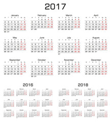 Simple Calendar 2017, 2016, 2018. Week starts from monday.
