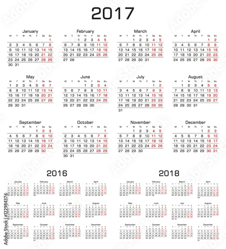 simple calendar 2017 2016 2018 week starts from monday