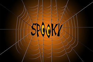 Word spooky hanging in the center of a spider web, on gradient black and orange background