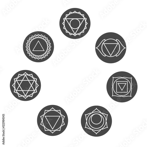Set Of Seven Chakras Icons Symbols Of Energy Centers Yoga And