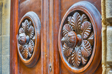 Old carved wooden door handle