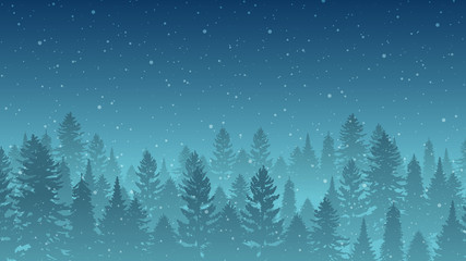Snowing on Trees Scene - Cold Weather Background