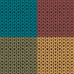 Set of four knitted seamless patterns. Vector seamless texture.
