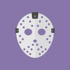 Icono plano mascara portero hockey de hielo sobre fondo violeta
