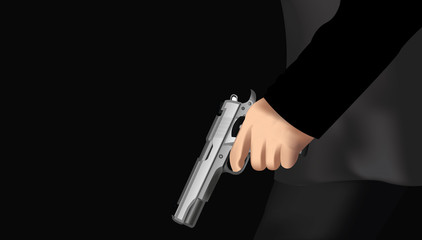 Illustration of a man holding a gun