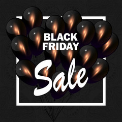 Black Friday Sale vector background with clack balloons