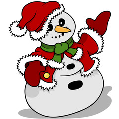 Snowman Santa Claus - Christmas Cartoon Illustration, Vector