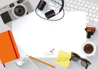 Flat design top view creative desktop.