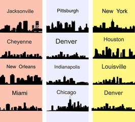 City silhouettes of the most popular cities of the USA. Vector.