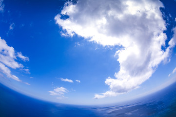 Clouds and ocean. Special effect fisheye. Madeira. Portugal Wall mural