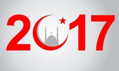 Creative text 2017 in flat design. Islam