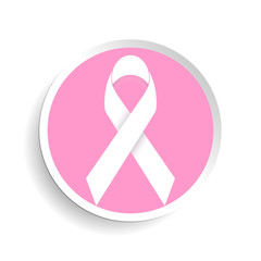 Breast cancer awareness pink geometric ribbon and white round background. Vector illustration.