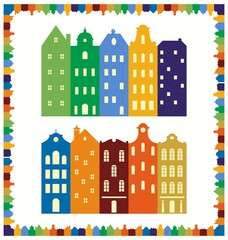 European cityscape. Skyline. Frame of silhouettes of traditional Dutch houses