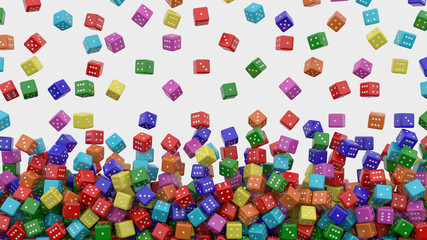Tens of colored dice falling from above